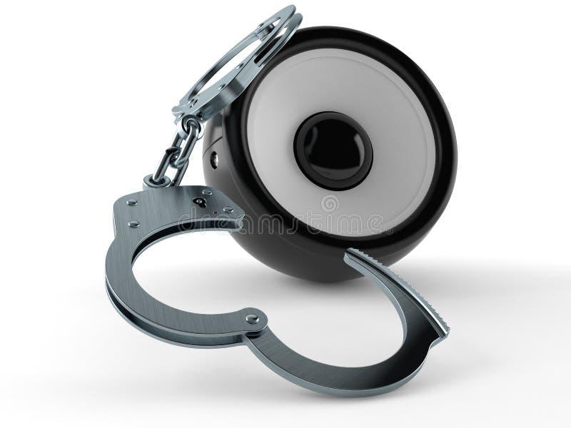 Haut-parleur audio avec des menottes illustration libre de droits