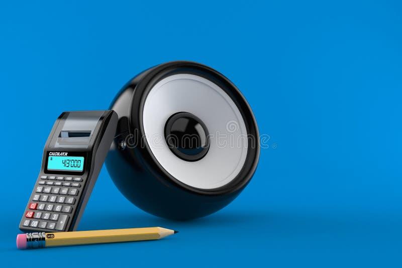 Haut-parleur audio avec la calculatrice et le crayon illustration stock