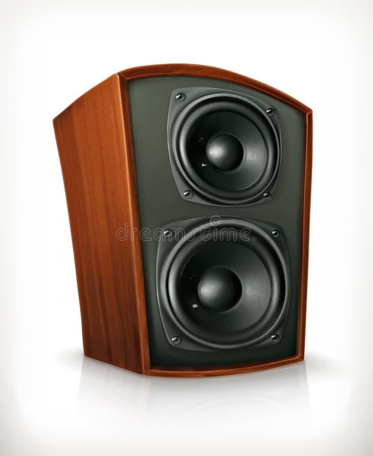 Haut-parleur audio dans le corps en bois plat illustration stock