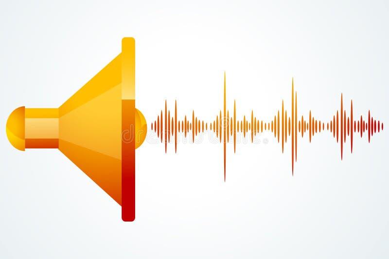 Haut-parleur avec des ondes de musique illustration stock