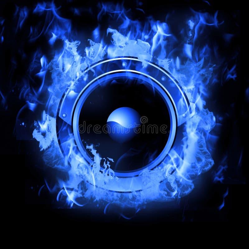 Haut-parleur brûlant avec l'effet réel de flammes illustration de vecteur