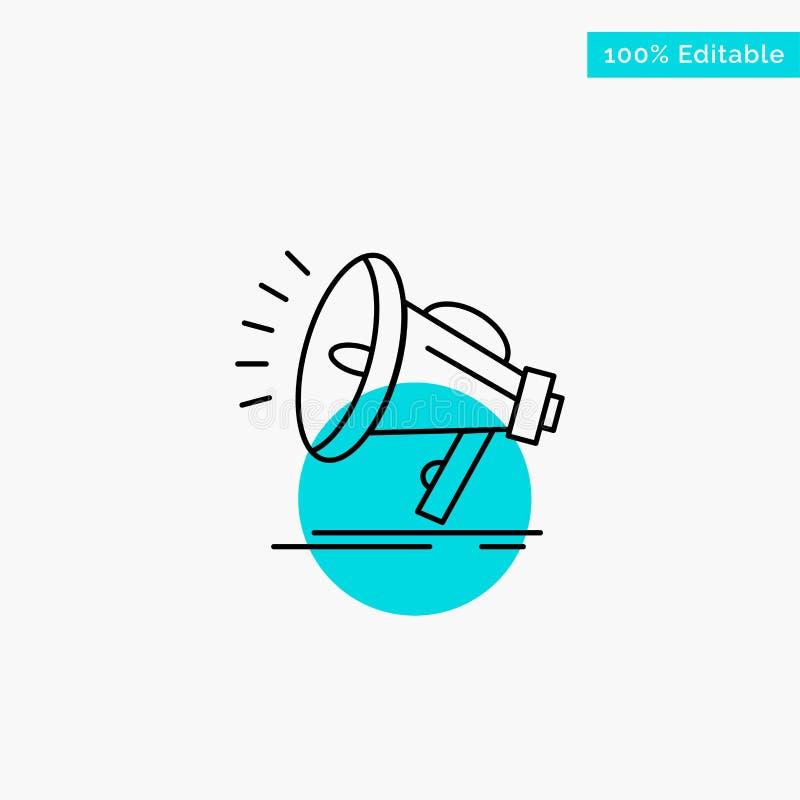 Haut-parleur, bruyant, audio, icône de vecteur de point de cercle de point culminant de turquoise de voix illustration de vecteur
