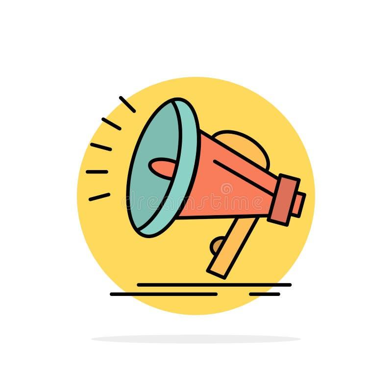 Haut-parleur, bruyant, audio, icône plate de couleur de fond de cercle d'abrégé sur voix illustration stock