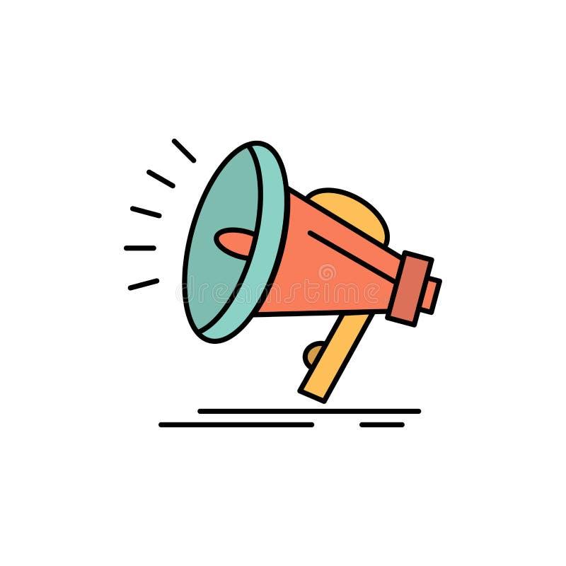 Haut-parleur, bruyant, audio, icône plate de couleur de voix Calibre de bannière d'icône de vecteur illustration de vecteur