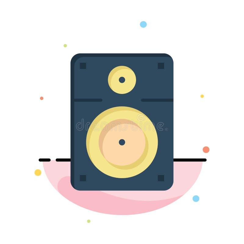 Haut-parleur, bruyant, musique, calibre plat d'icône de couleur d'abrégé sur éducation illustration de vecteur