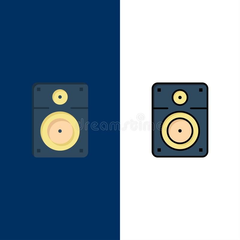 Haut-parleur, bruyant, musique, icônes d'éducation L'appartement et la ligne icône remplie ont placé le fond bleu de vecteur illustration libre de droits