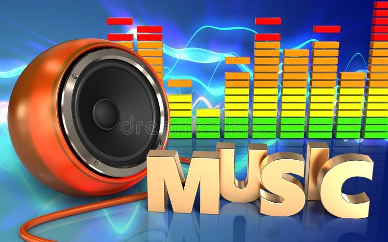 haut-parleur d'orange de signe de la musique 3d illustration de vecteur