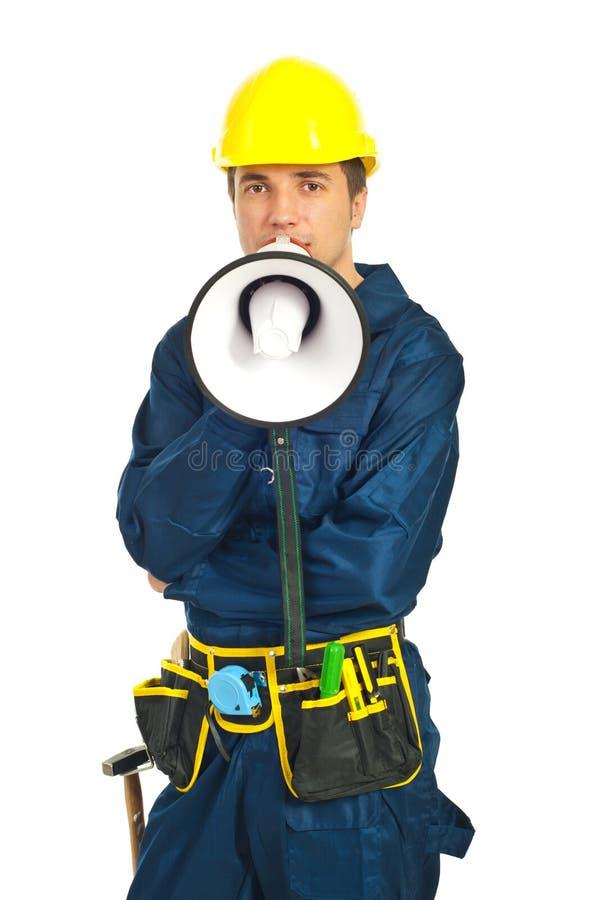 Haut-parleur de cri d'homme d'ouvrier photographie stock