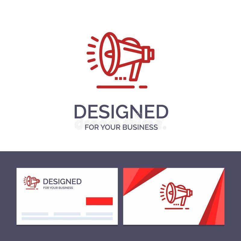 Haut-parleur de visite de calibre créatif de carte de visite professionnelle et de logo, haut-parleur, voix, illustration de vect illustration stock