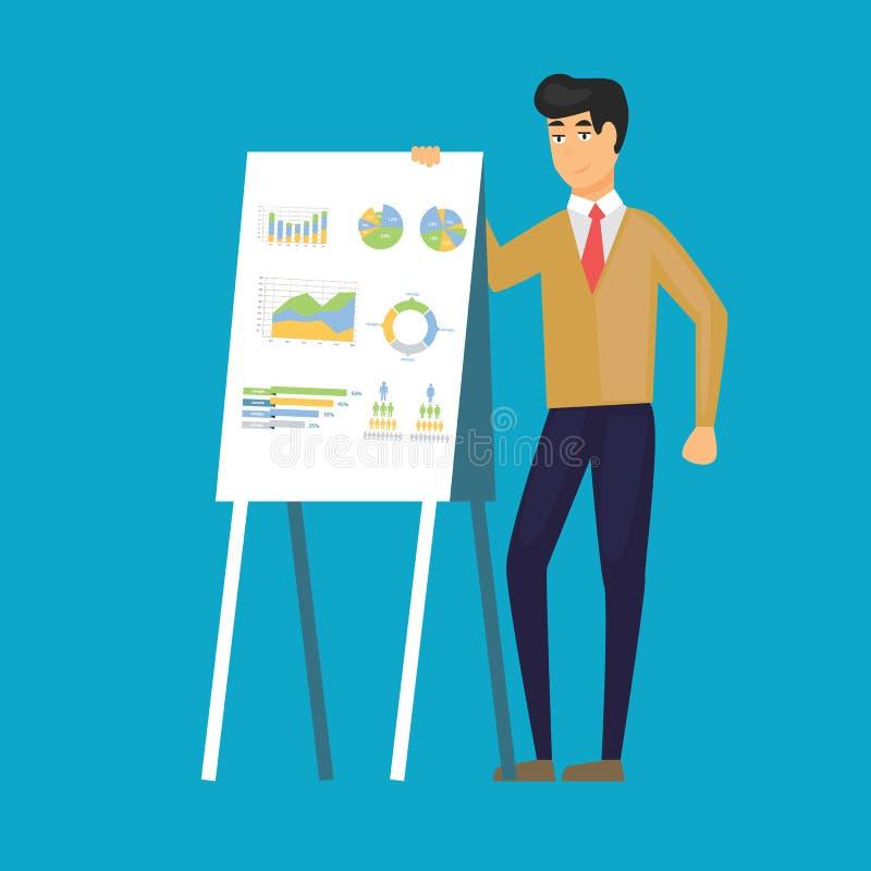 Haut-parleur donnant la conférence avec la ligne diagramme à bord Homme d'affaires, diagramme, graphique, analyse Peut être emplo illustration de vecteur