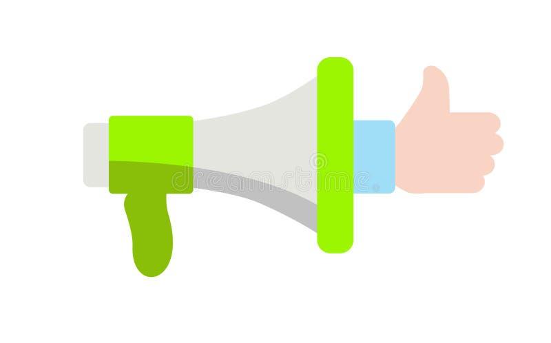 Haut-parleur dont une main sort avec un pouce  illustration libre de droits