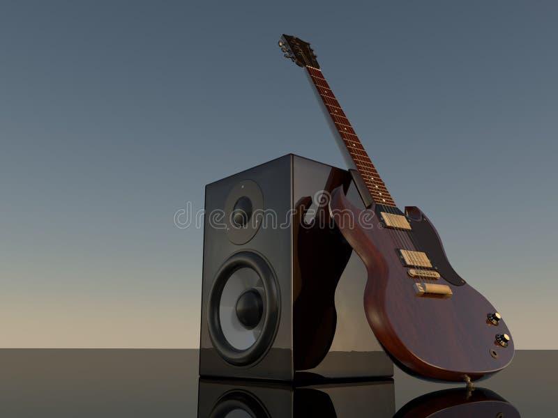 Haut-parleur et E-guitare illustration stock
