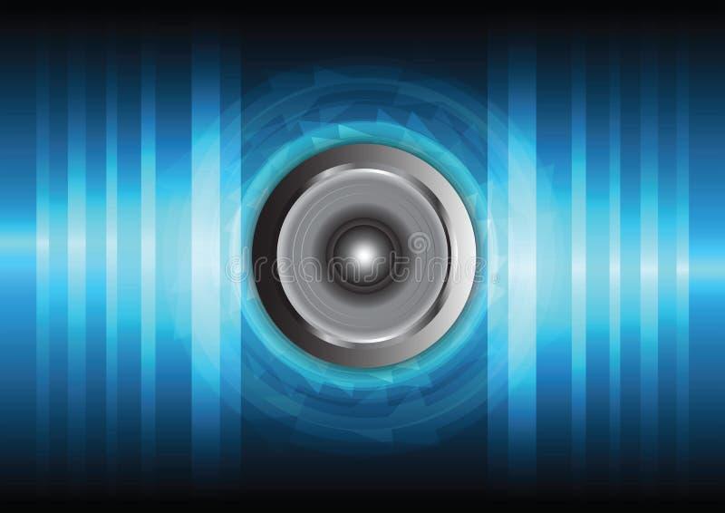 Haut-parleur et onde sonore illustration stock