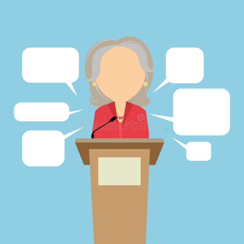Haut-parleur femelle avec des bulles de la parole illustration libre de droits
