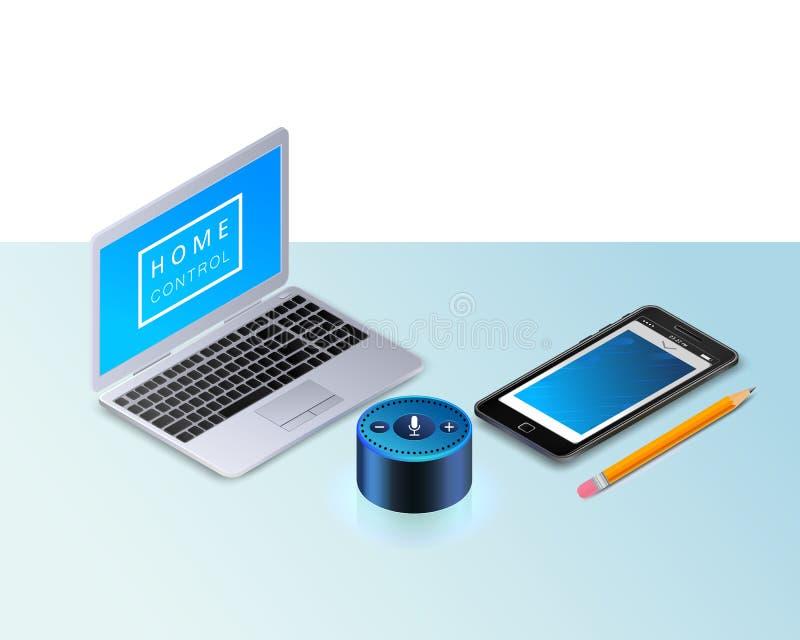 Haut-parleur futé pour le contrôle à la maison intelligent Ordinateur portable moderne, un téléphone portable, crayon illustration stock