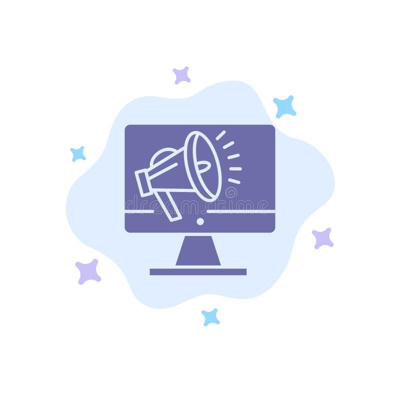 Haut-parleur, grand volume, haut-parleur, haut-parleur, icône bleue de voix sur le fond abstrait de nuage illustration de vecteur