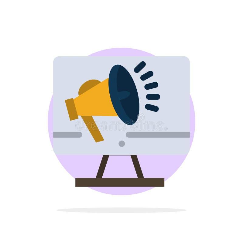 Haut-parleur, grand volume, haut-parleur, haut-parleur, icône plate de couleur de fond de cercle d'abrégé sur voix illustration libre de droits