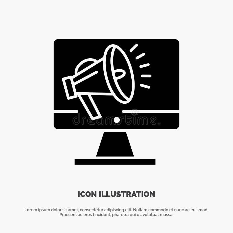 Haut-parleur, grand volume, haut-parleur, haut-parleur, vecteur solide d'icône de Glyph de voix illustration stock