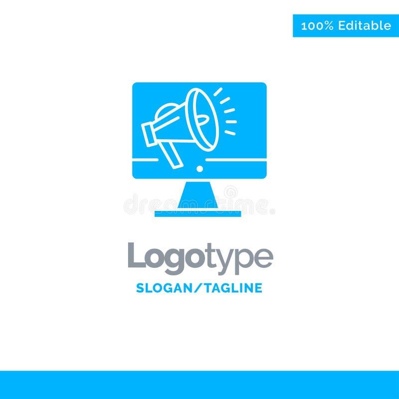 Haut-parleur, grand volume, haut-parleur, haut-parleur, voix Logo Template solide bleu Endroit pour le Tagline illustration de vecteur