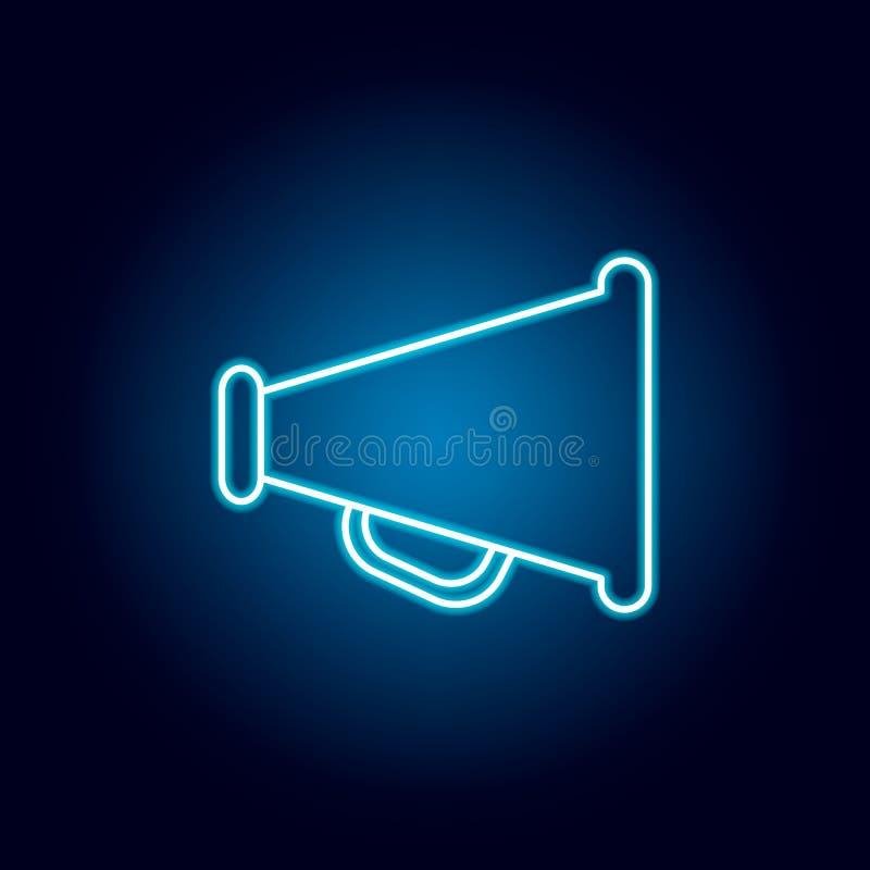 haut-parleur, icône d'ensemble de mégaphone dans le style au néon éléments de ligne icône d'illustration d'éducation des signes,  illustration libre de droits