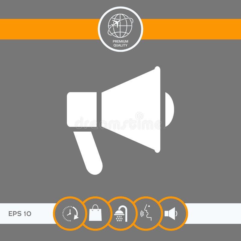 Haut-parleur, icône de corne de brume illustration stock