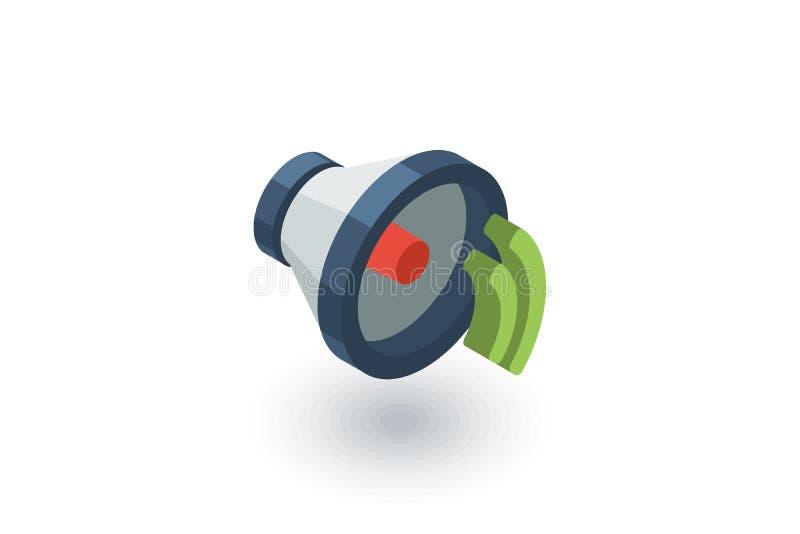 Haut-parleur, icône plate isométrique de bruit vecteur 3d illustration stock