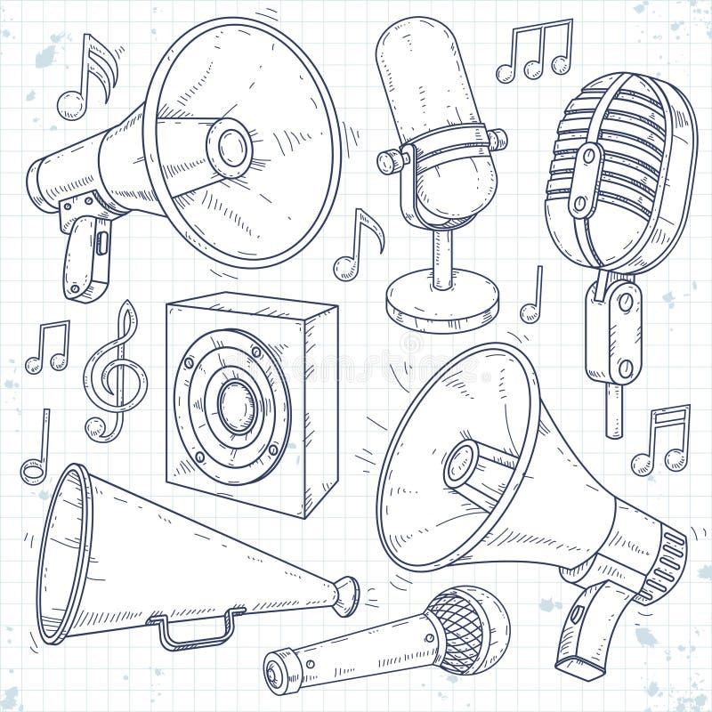 Haut-parleur, klaxon, microphone et haut-parleur entourés par des notes de musique illustration libre de droits