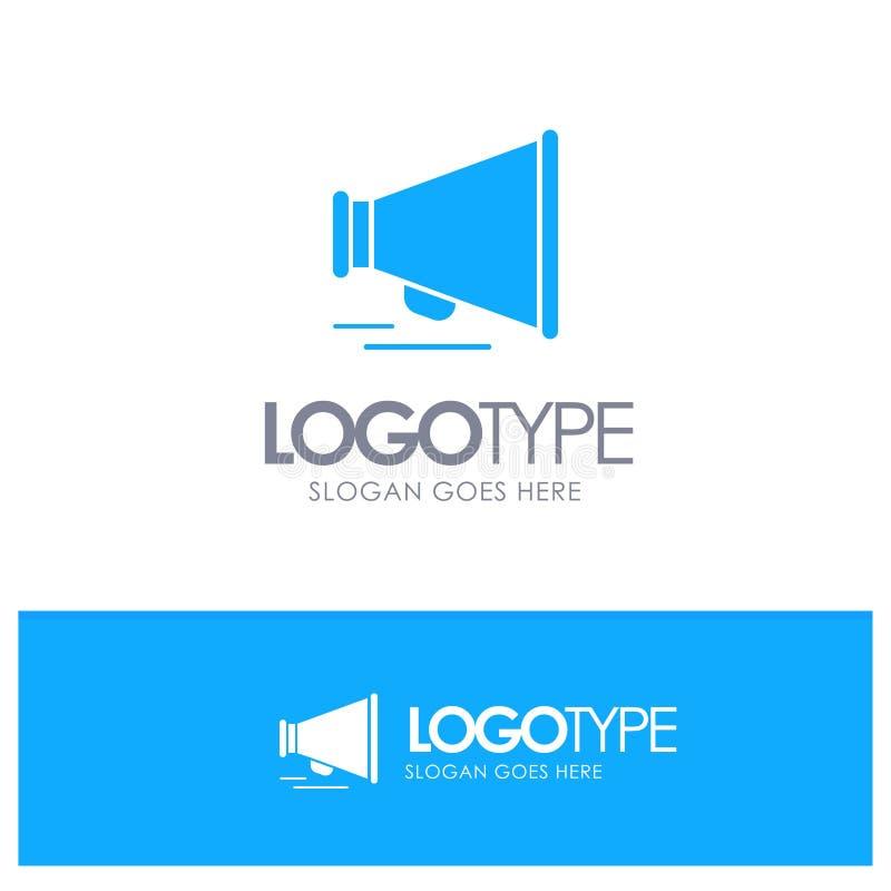 Haut-parleur, louange, logo solide bleu de motivation avec l'endroit pour le tagline illustration de vecteur