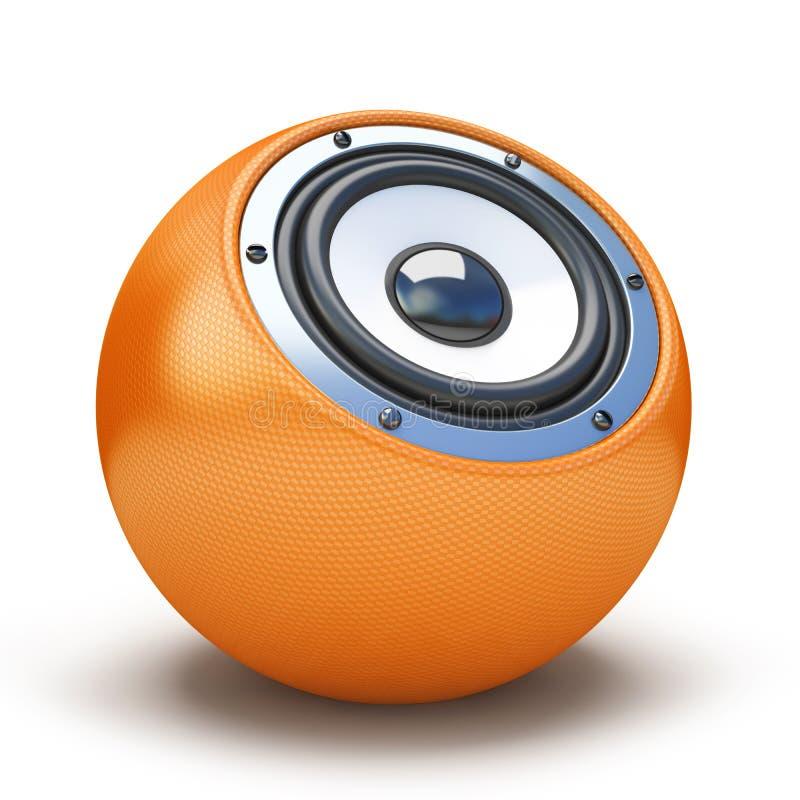 Haut-parleur orange de sphère illustration de vecteur