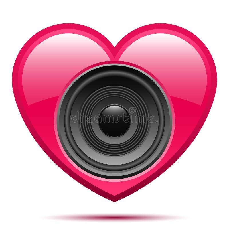 haut-parleur rose de coeur illustration libre de droits