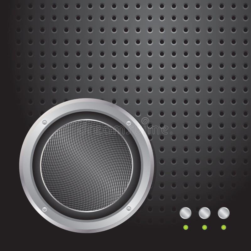 Haut-parleur sonore sur le fond perforé métallique illustration de vecteur