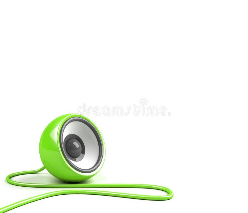 Haut-parleur vert clair avec le câble illustration de vecteur