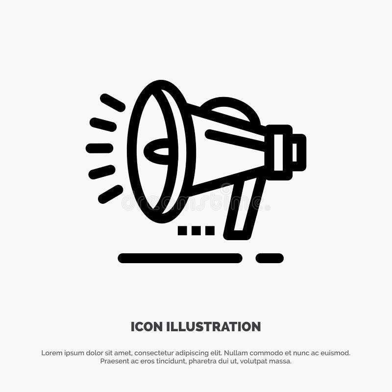 Haut-parleur, haut-parleur, voix, ligne vecteur d'annonce d'icône illustration de vecteur