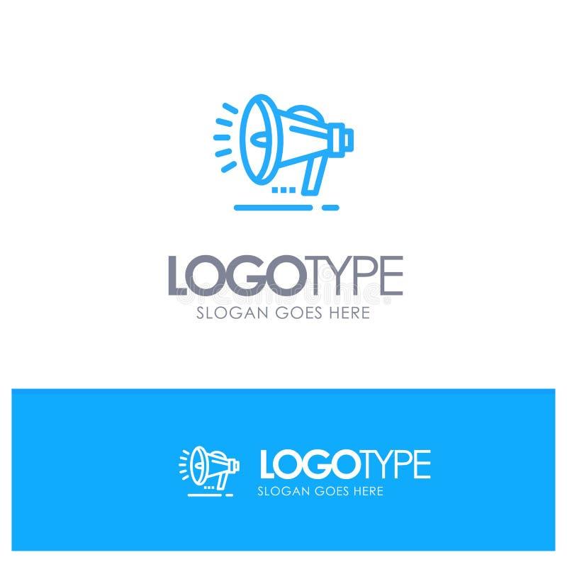 Haut-parleur, haut-parleur, voix, logo bleu d'ensemble d'annonce avec l'endroit pour le tagline illustration stock
