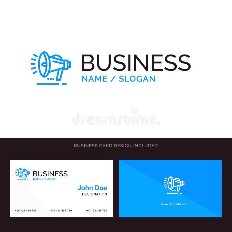 Haut-parleur, haut-parleur, voix, logo d'affaires d'annonce et calibre bleus de carte de visite professionnelle de visite Concept illustration de vecteur