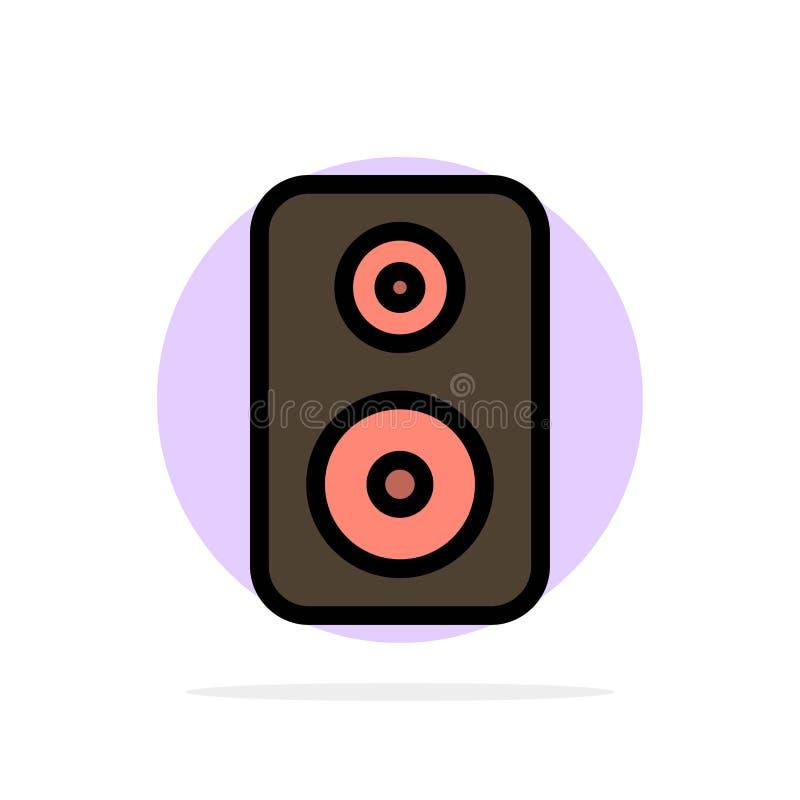 Haut-parleur, woofer, icône plate de couleur de fond abstrait de cercle de louange illustration libre de droits