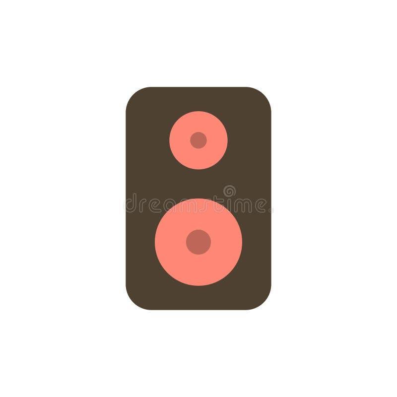 Haut-parleur, woofer, icône plate de couleur de louange Calibre de bannière d'icône de vecteur illustration stock