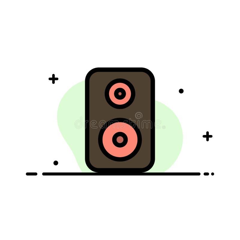 Haut-parleur, Woofer, Laud Business Flat Line Remplissage Icon Vector Banner Modèle illustration de vecteur