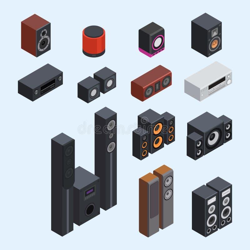 Haut-parleurs acoustiques stéréo de musique du vecteur 3d de système de son isométrique à la maison illustration stock