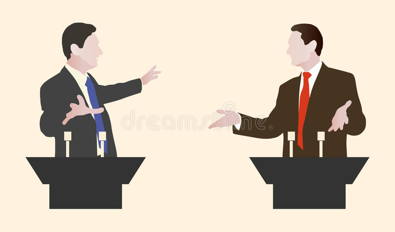 Haut-parleurs de la discussion deux Discussions politiques des paroles illustration de vecteur