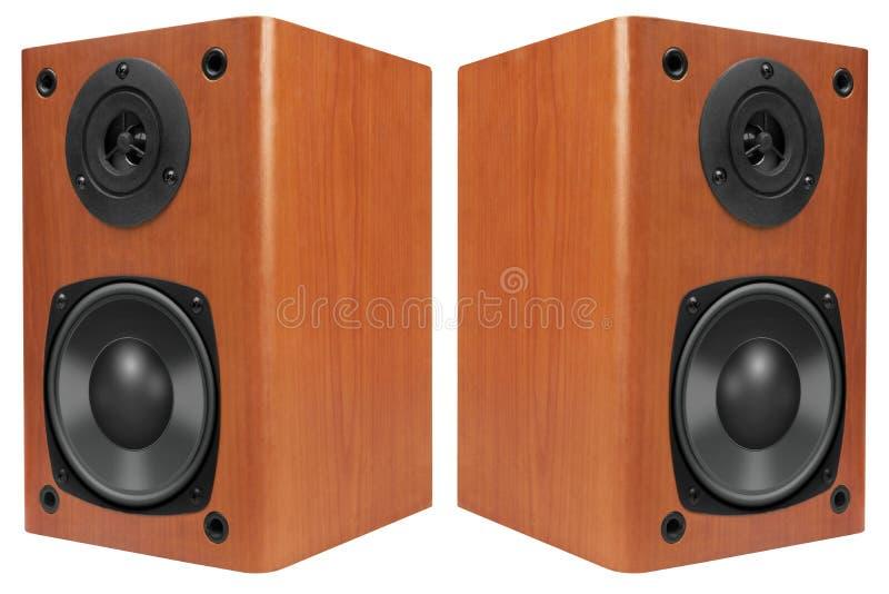 Haut-parleurs forts en bois images stock
