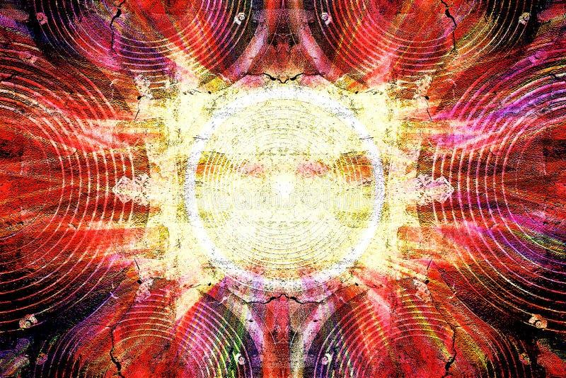 Haut-parleurs grunges rouges de musique illustration stock