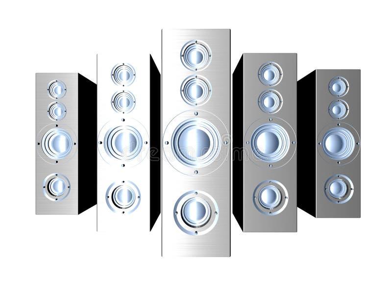 Haut-parleurs - métal futuriste illustration stock