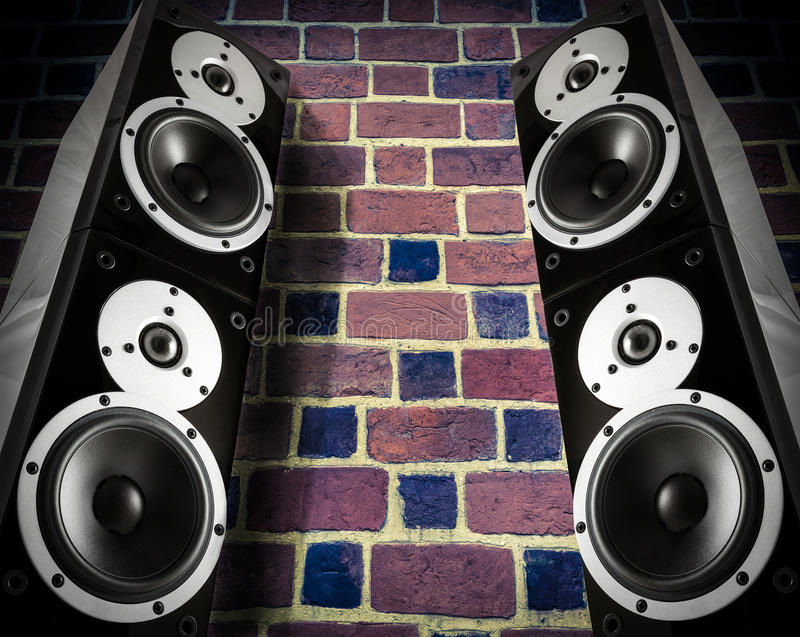 Haut-parleurs noirs de musique photo libre de droits