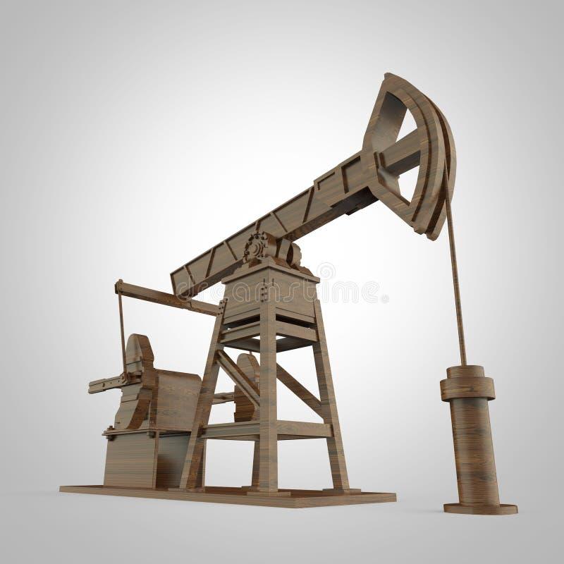Haut pompe-cric en bois détaillé, plate-forme pétrolière rendu d'isolement industrie de carburant, illustration de crise d'économ illustration de vecteur