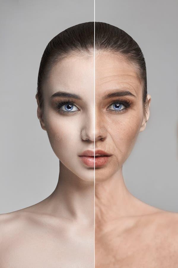 Hautalterung, Falten, Frauengesichtsbehandlungsverjüngung Hautpflege, Wiederaufnahme und Regeneration der Haut Vorher und nachher lizenzfreie stockbilder