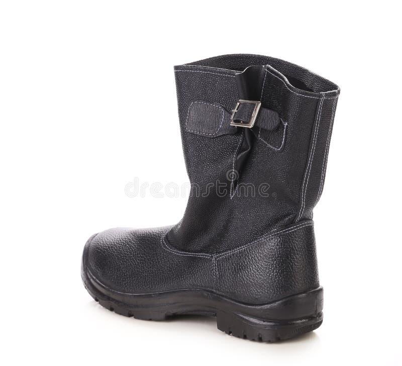 Haute botte en cuir noire. photo stock