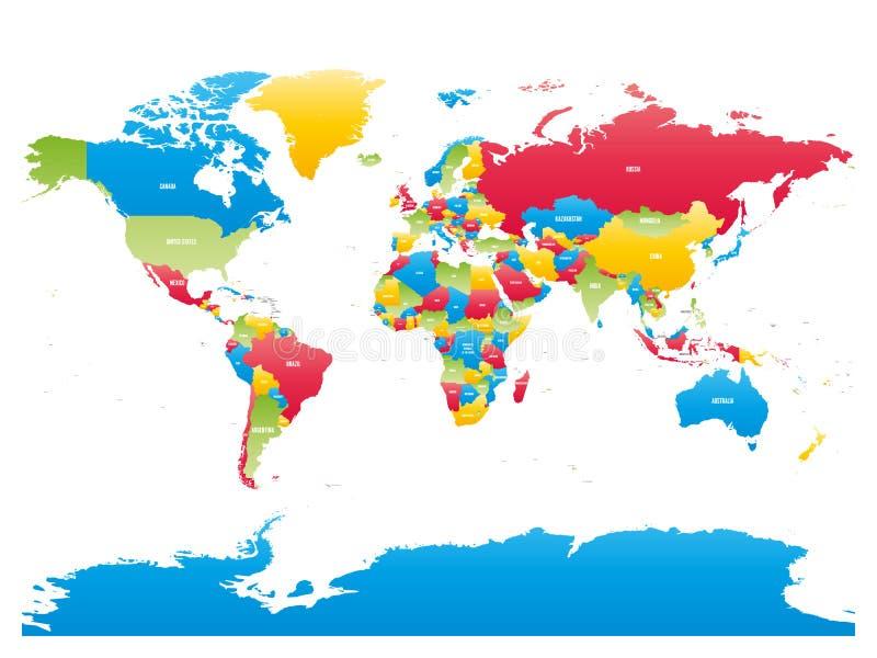 Haute carte détaillée colorée de monde Illustration de vecteur illustration stock