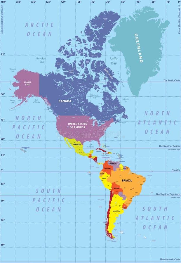 Haute carte détaillée de nord et de l'Amérique du Sud illustration libre de droits