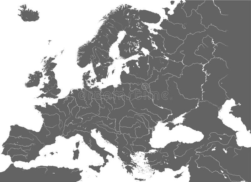 Haute carte détaillée de vecteur des rivières de canalisation de l'Europe illustration de vecteur